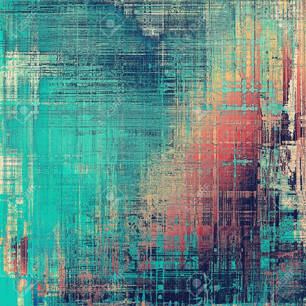 Vintage background, antique grunge backdrop or scratched texture with different color patterns: yellow (beige); brown; red (orange); blue; pink; cyan - 55311802