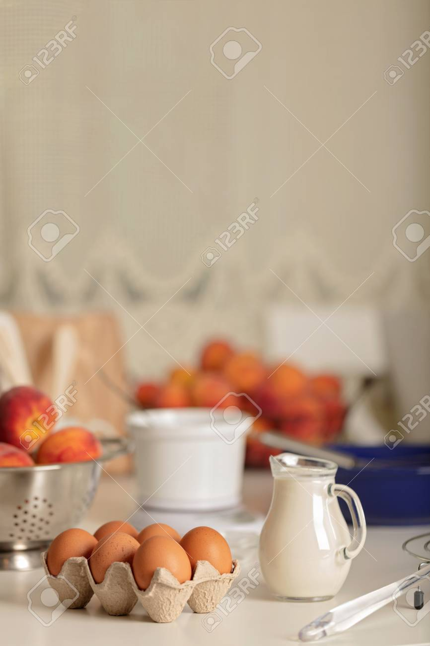 Preparation Of Homemade Peach Pie. Kitchen Accessories And Products ...