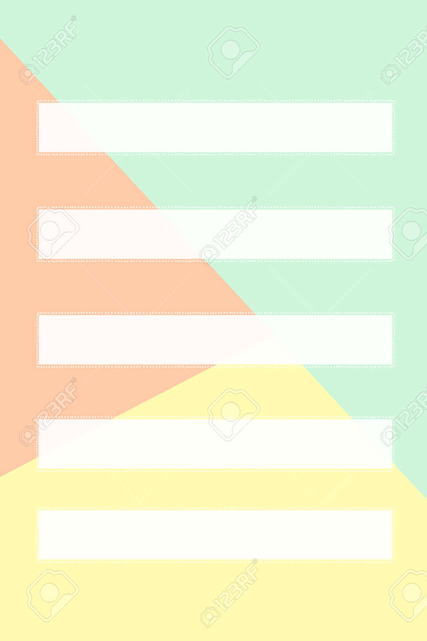 Five rectangular cards made of white paper with a dotted border and one rectangular card on a three-color background. Create presentations. - 166361520