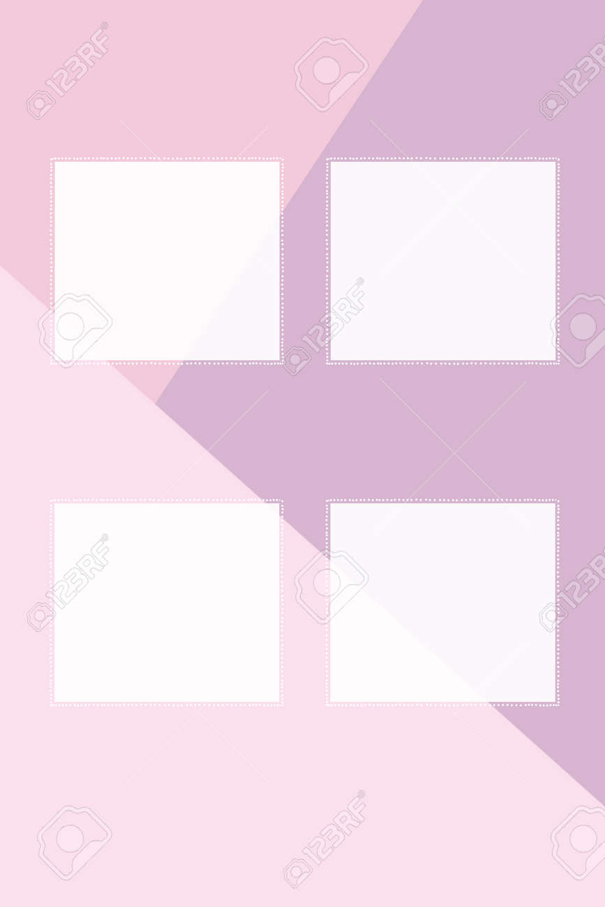 Four square cards made of white paper with a dotted frame on a three-color background. Create presentations. - 166361518