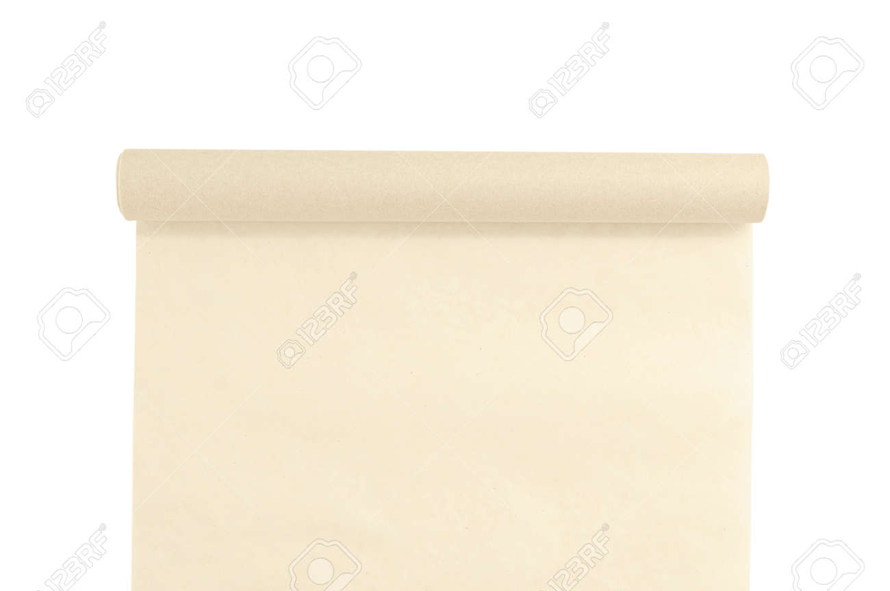 Unfolded roll of baking parchment paper. White isolate. - 166501124