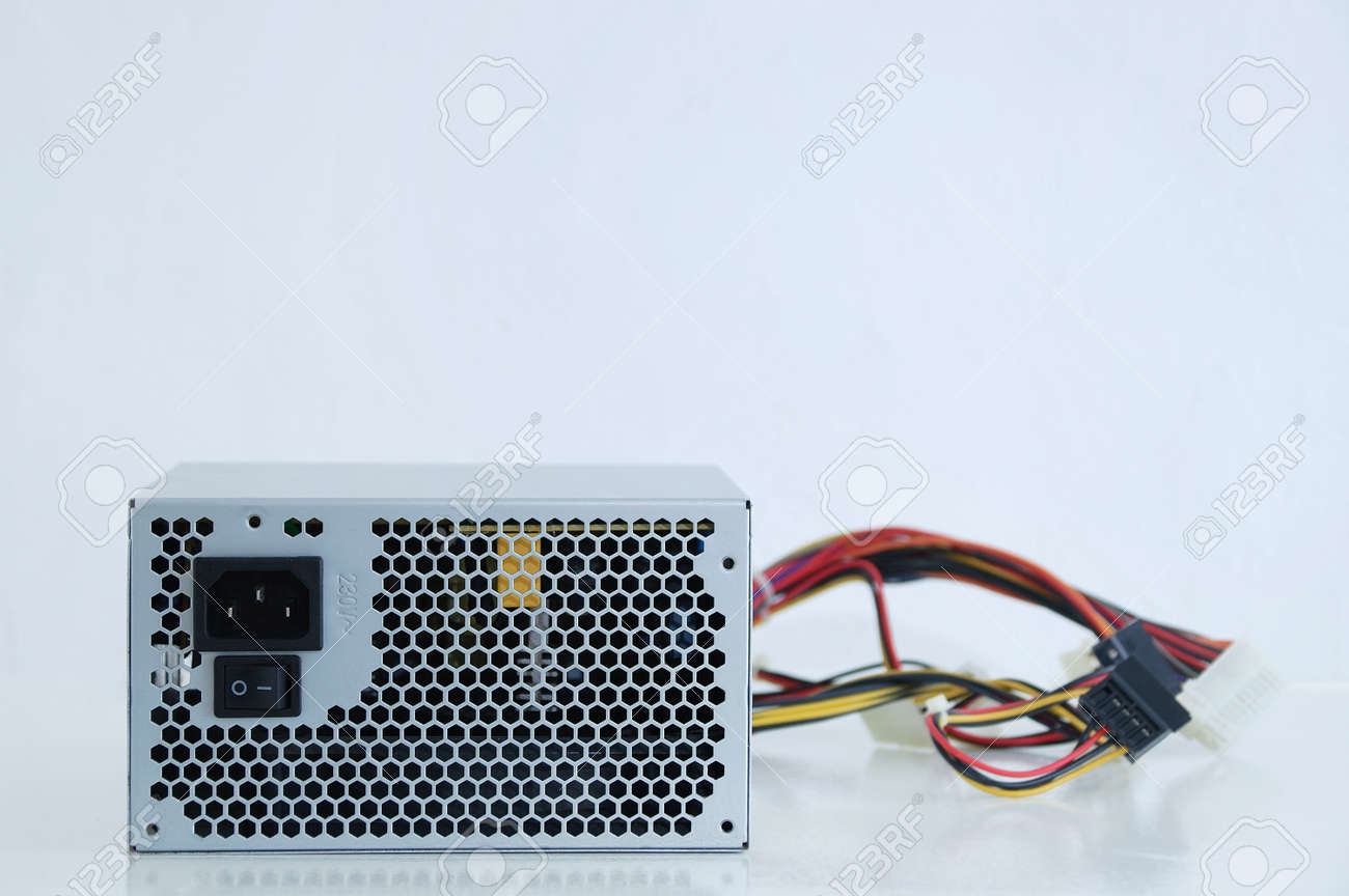 Power supply and wires for a personal computer close-up. White background. - 166962723