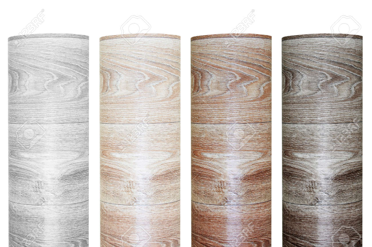 Four samples of rolled linoleum roll with wood texture. White isolate. - 170847113