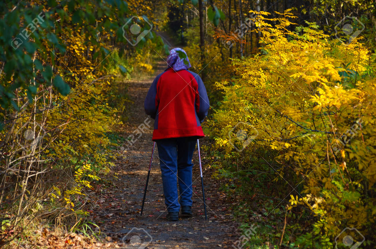 An elderly woman on a walk in the park in the autumn afternoon. View from the back. - 171076173