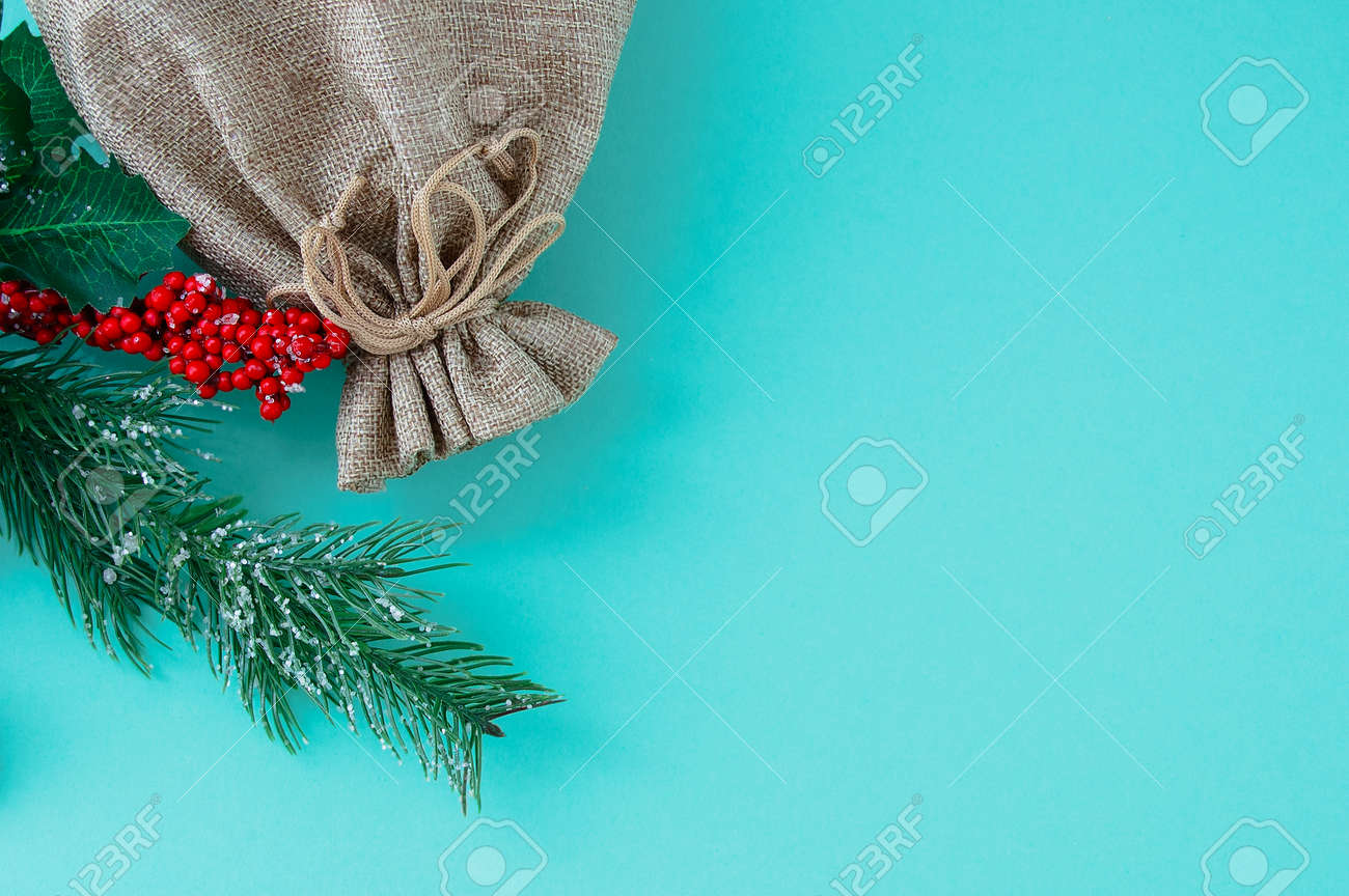 Brown canvas bag and a branch of a Christmas tree with red berries on a turquoise background. Place for your text. - 172808437