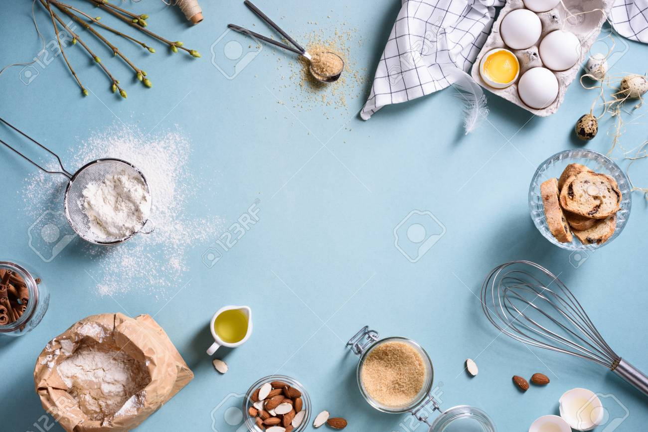 Baking Or Cooking Background Frame. Ingredients, Kitchen Items ...