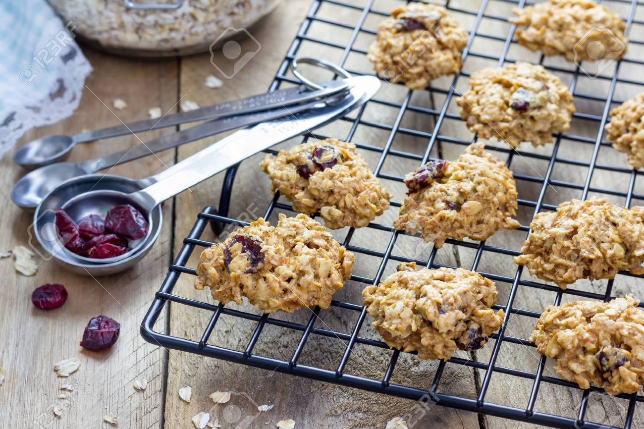 Fresh baked homemade oatmeal cookies with cranberry - 49264903