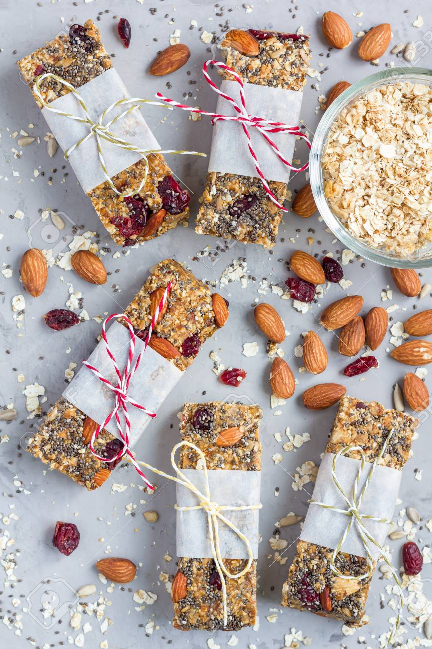 Homemade Granola Energy Bars With Figs, Oatmeal, Almond, Dry Cranberry,  Chia And