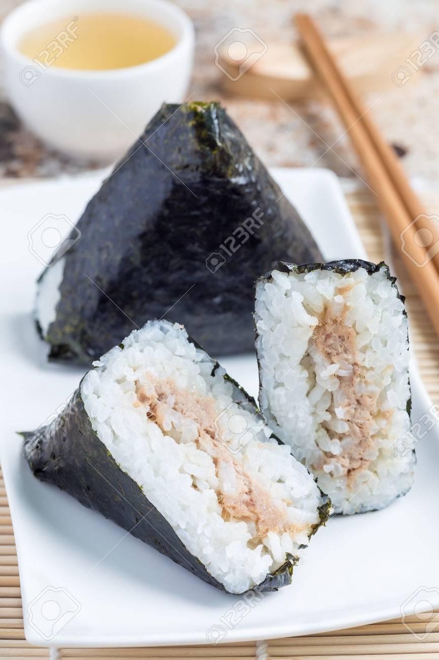 Korean triangle kimbap Samgak made with nori, rice and tuna fish,