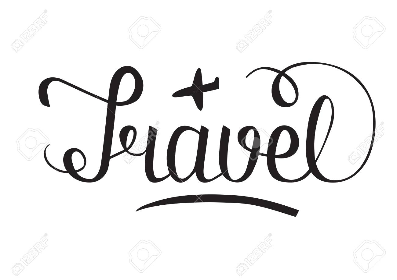 Word Travel Hand Lettering With Little Plane Sketch Vector Stock