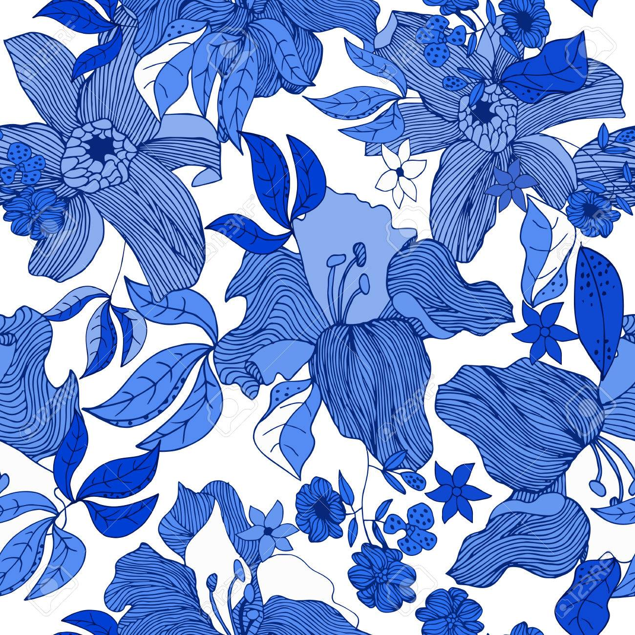 Fondo Grafico De La Mano Sin Fisuras Flores Azules Aislados Y Hojas