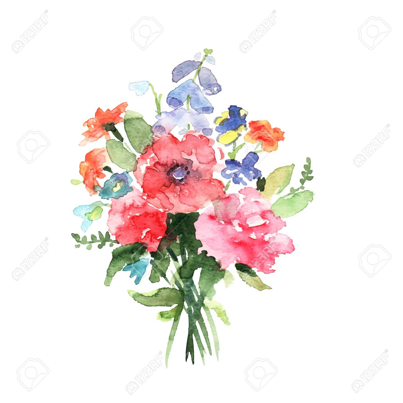 Watercolor Floral Bouquet Royalty Free Cliparts Vectors And Stock