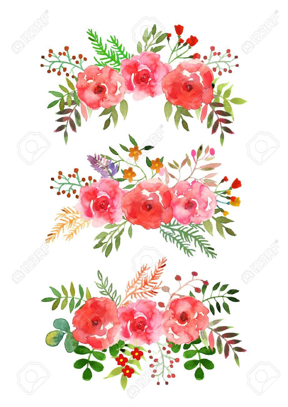 Vector Blumen Bunte Blumensammlung Mit Blattern Und Blumen
