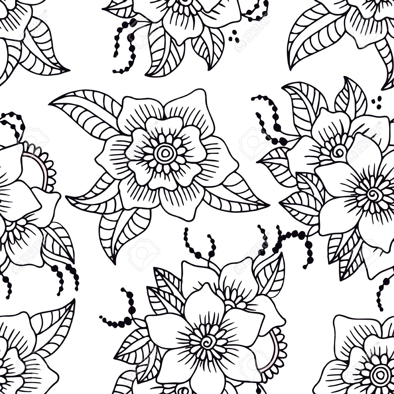 Abstract seamless pattern with hand drawn white flowers with abstract seamless pattern with hand drawn white flowers with black outline vector illustration stock mightylinksfo Gallery