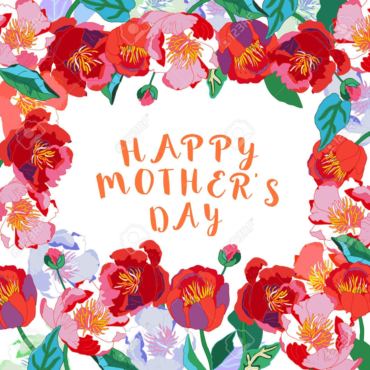Happy mothers day lettering mothers day greeting card with happy mothers day lettering mothers day greeting card with blooming red flowers vector illustration kristyandbryce Image collections