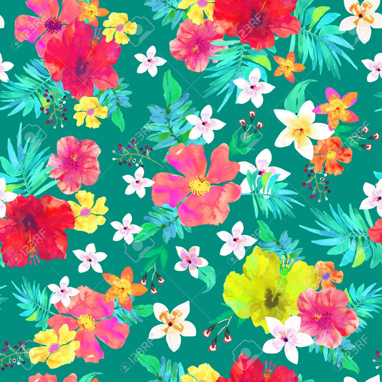 Seamless Floral Background Tropical Colorful Pattern Isolated