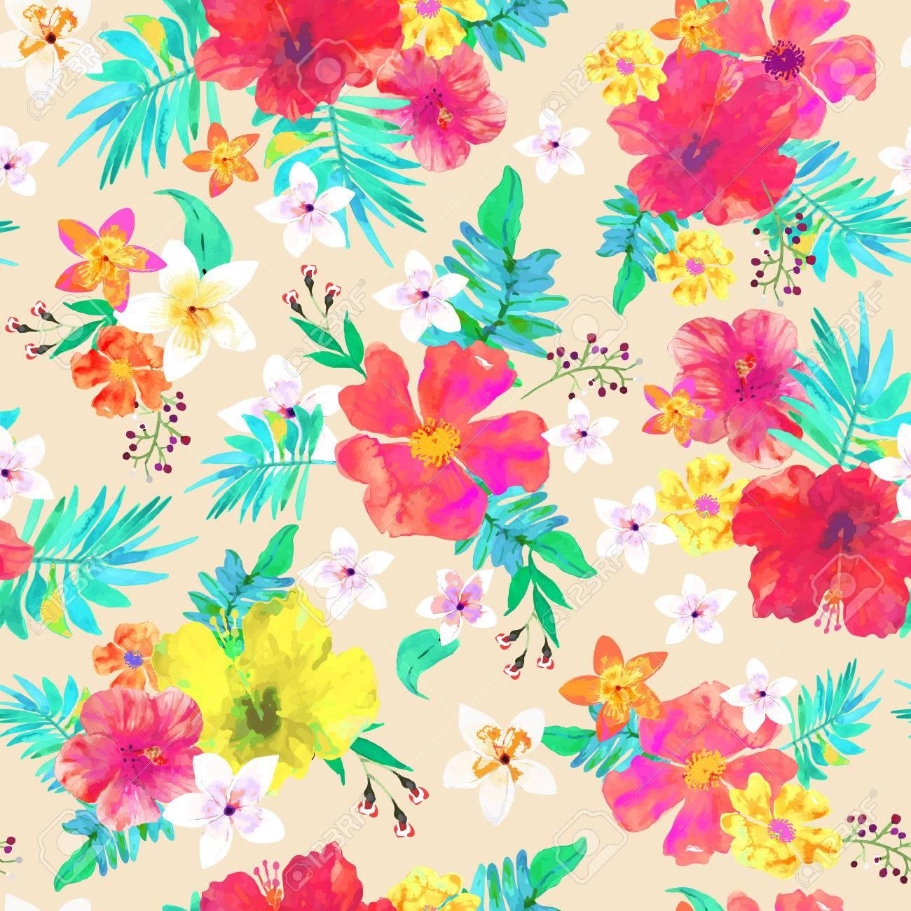 Fondo Floral Transparente Patrón De Colores Tropicales Flores Y