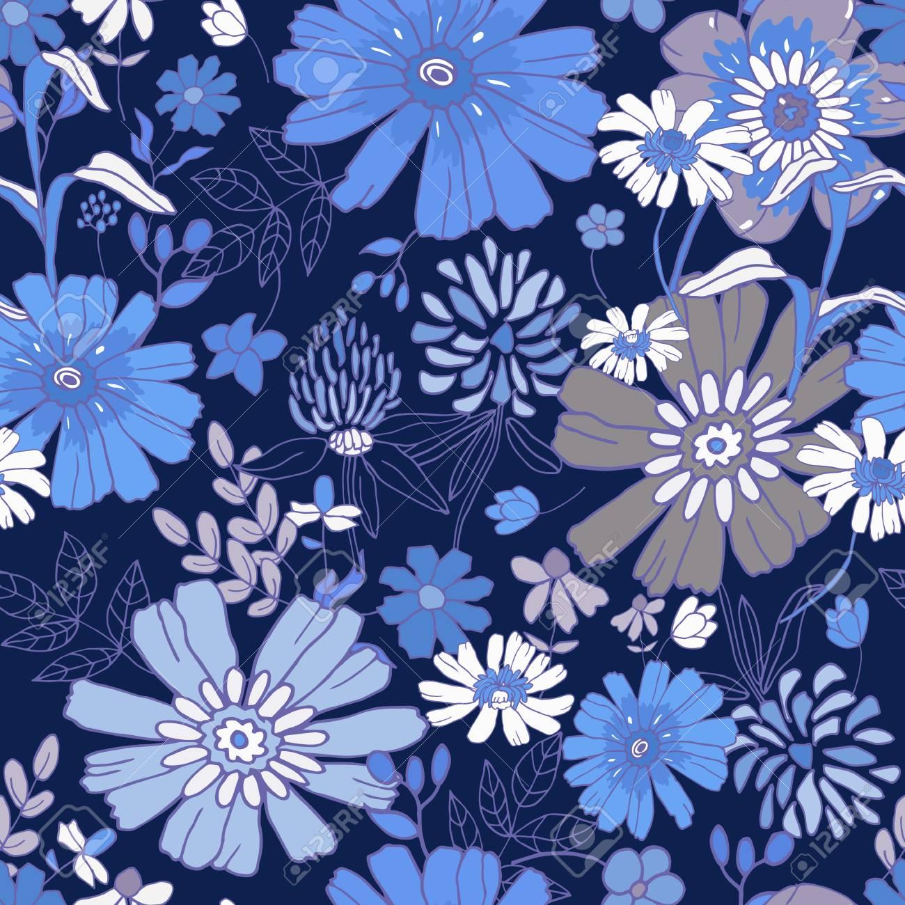 Fiori Blu E Bianchi.Immagini Stock Floral Background Senza Soluzione Di Continuita