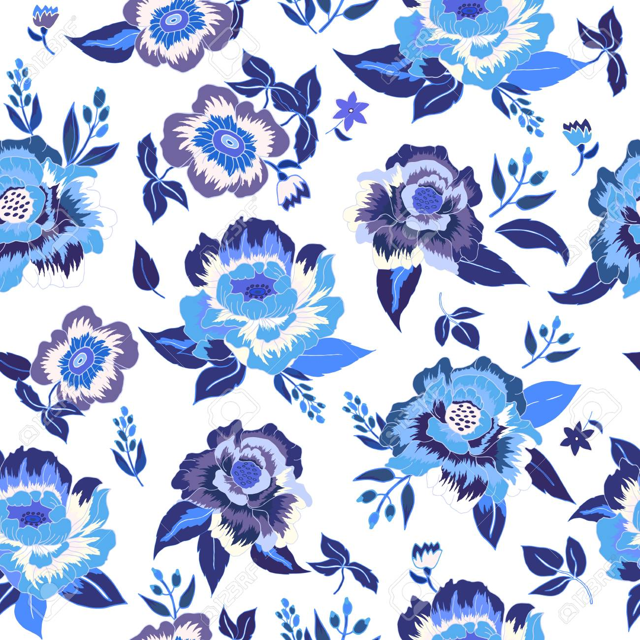 Fiori Blu E Bianchi.Seamless Floral Background Blue And White Flowers And Leafs