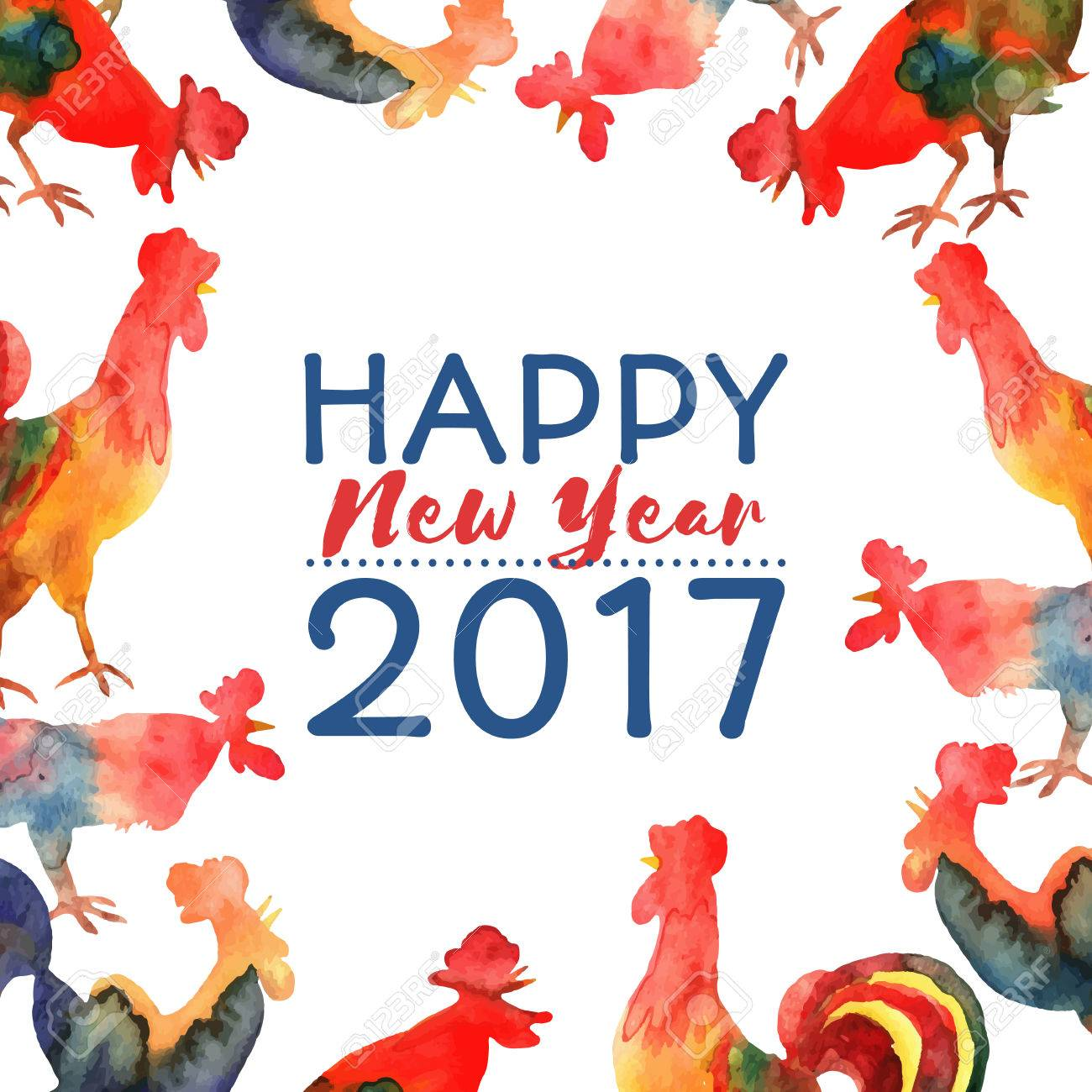 Vector   Vector Frame With Fire Cocks And Text Happy New Year 2017. Chinese  Calendar Zodiac For 2017 New Year Of Rooster. Editable Isolated Elements.