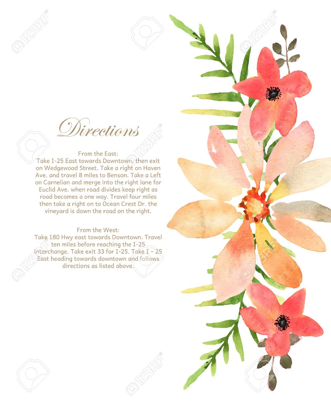 Vector Wedding Invitation With Floral Background. Hand Drawn ...