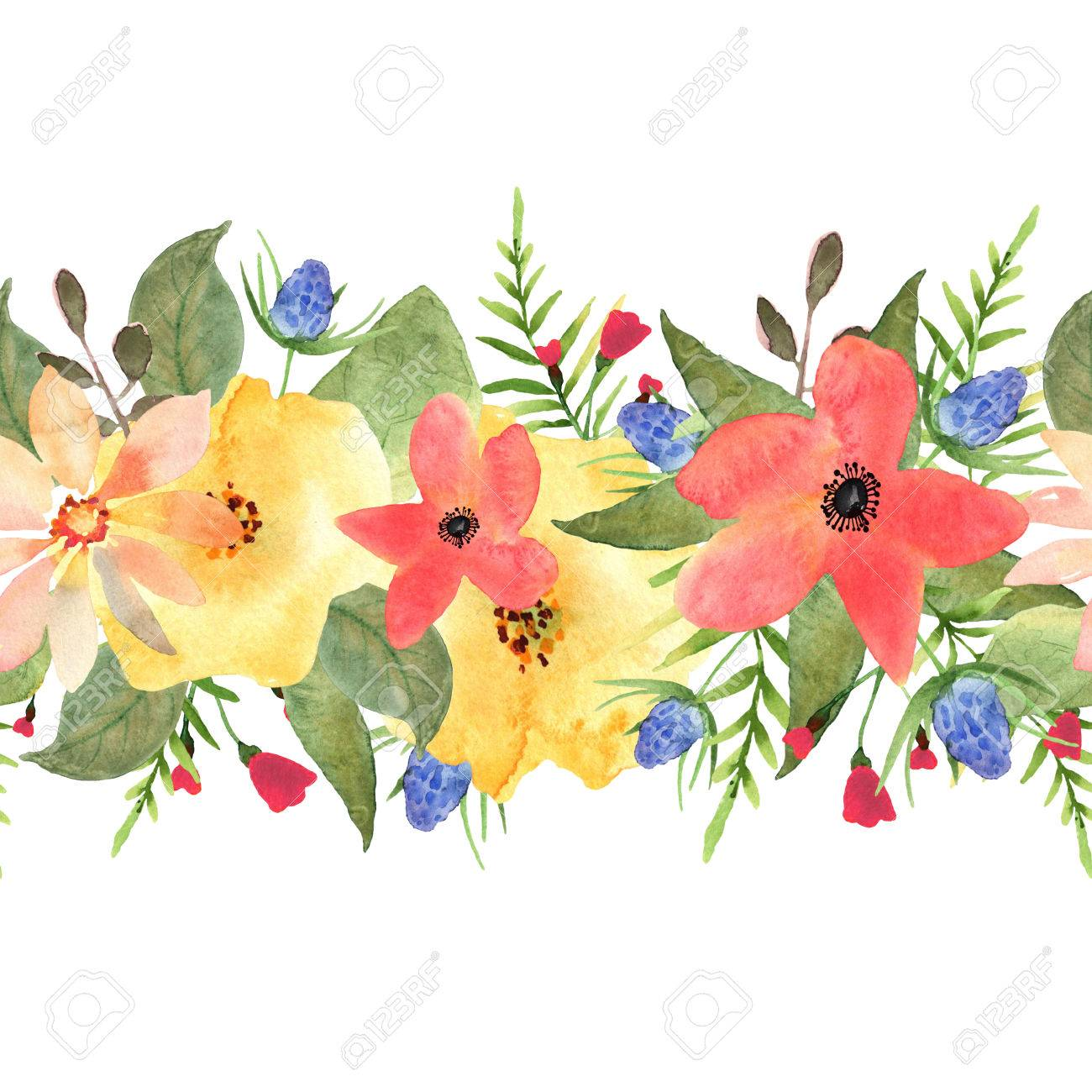 seamless floral border roses and wild flowers drawn watercolor rh 123rf com Filigree Flower Border Clip Art Hawaiian Flower Border Clip Art