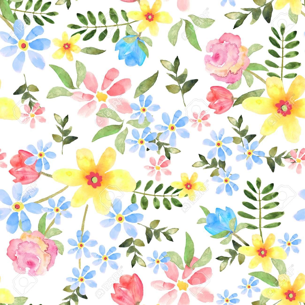 手描き背景に水彩で花のシームレス花柄印刷 壁紙 テキスタイルのデザイン の写真素材 画像素材 Image