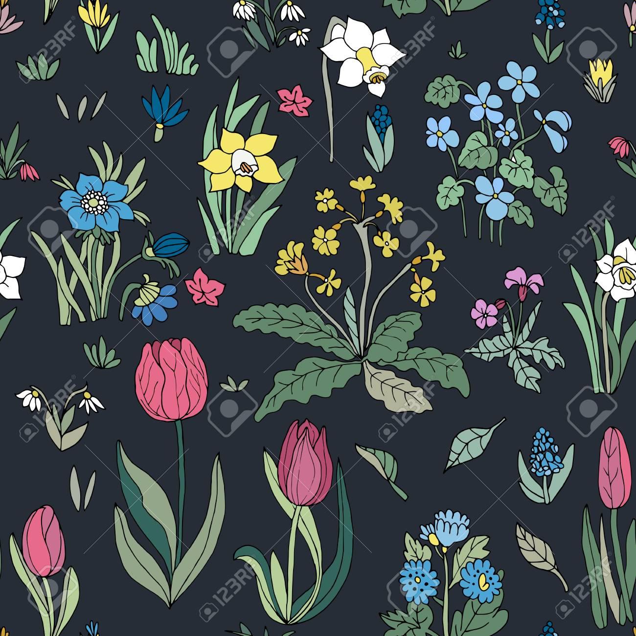 Floral Black Background Design
