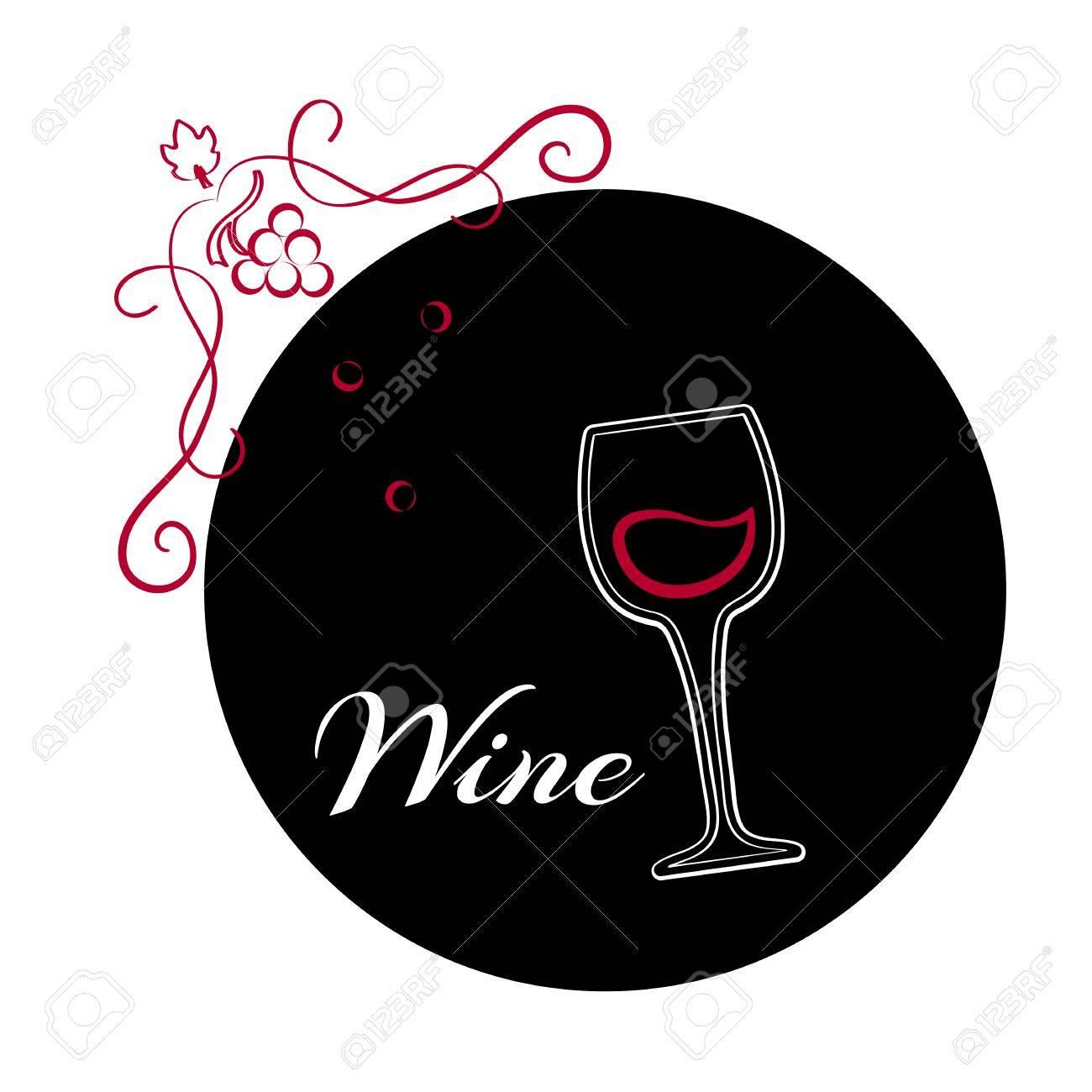 Verre de vin sur fond noir. Décris le logo du vin. Illustration vectorielle.