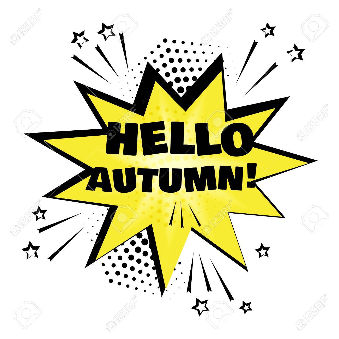 Yellow comic bubble with HELLO AUTUMN word  Comic sound effects