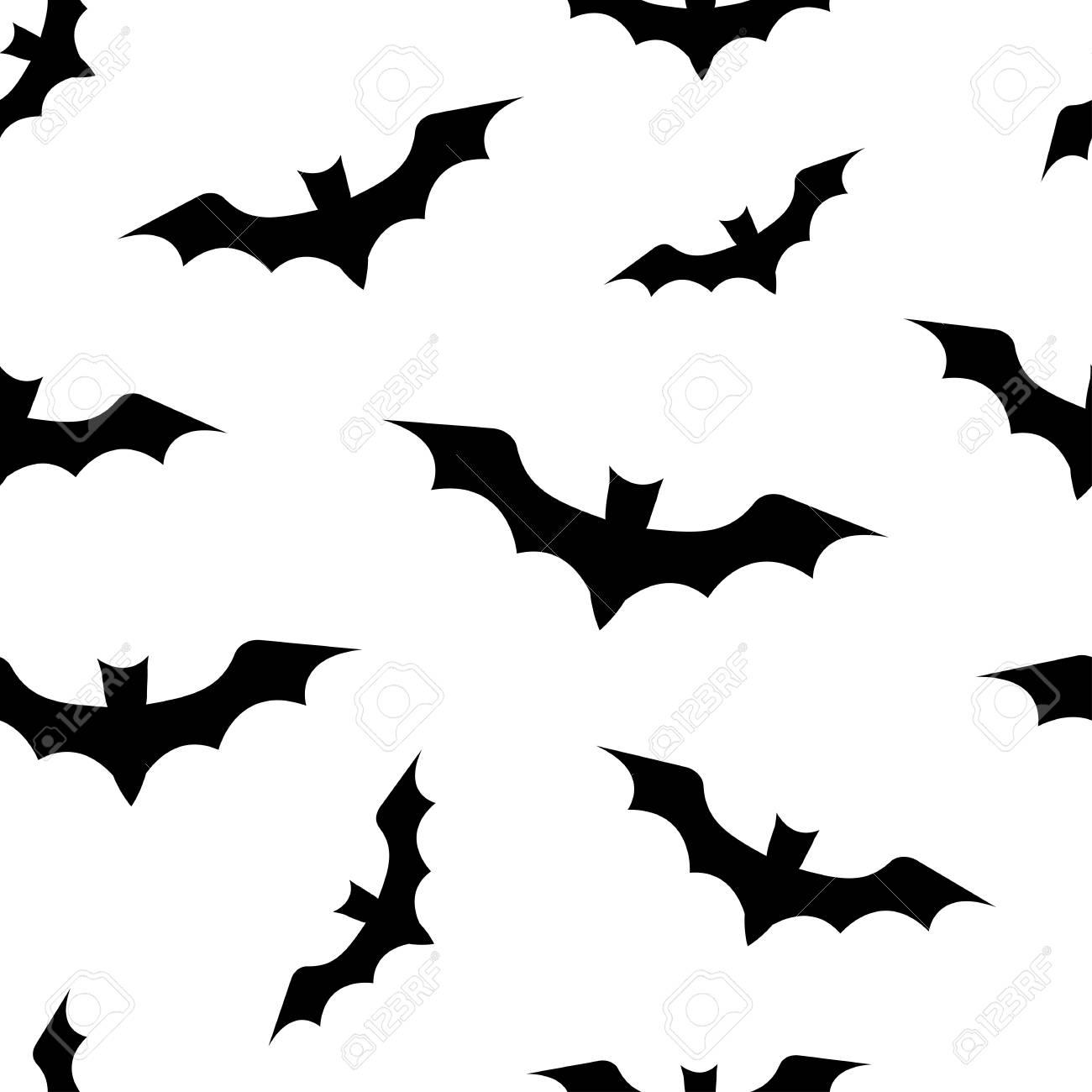 Un Modele Sans Couture Avec Des Chauves Souris Pour Halloween Chauves Souris Noires Sur Fond Blanc Clip Art Libres De Droits Vecteurs Et Illustration Image 87822788