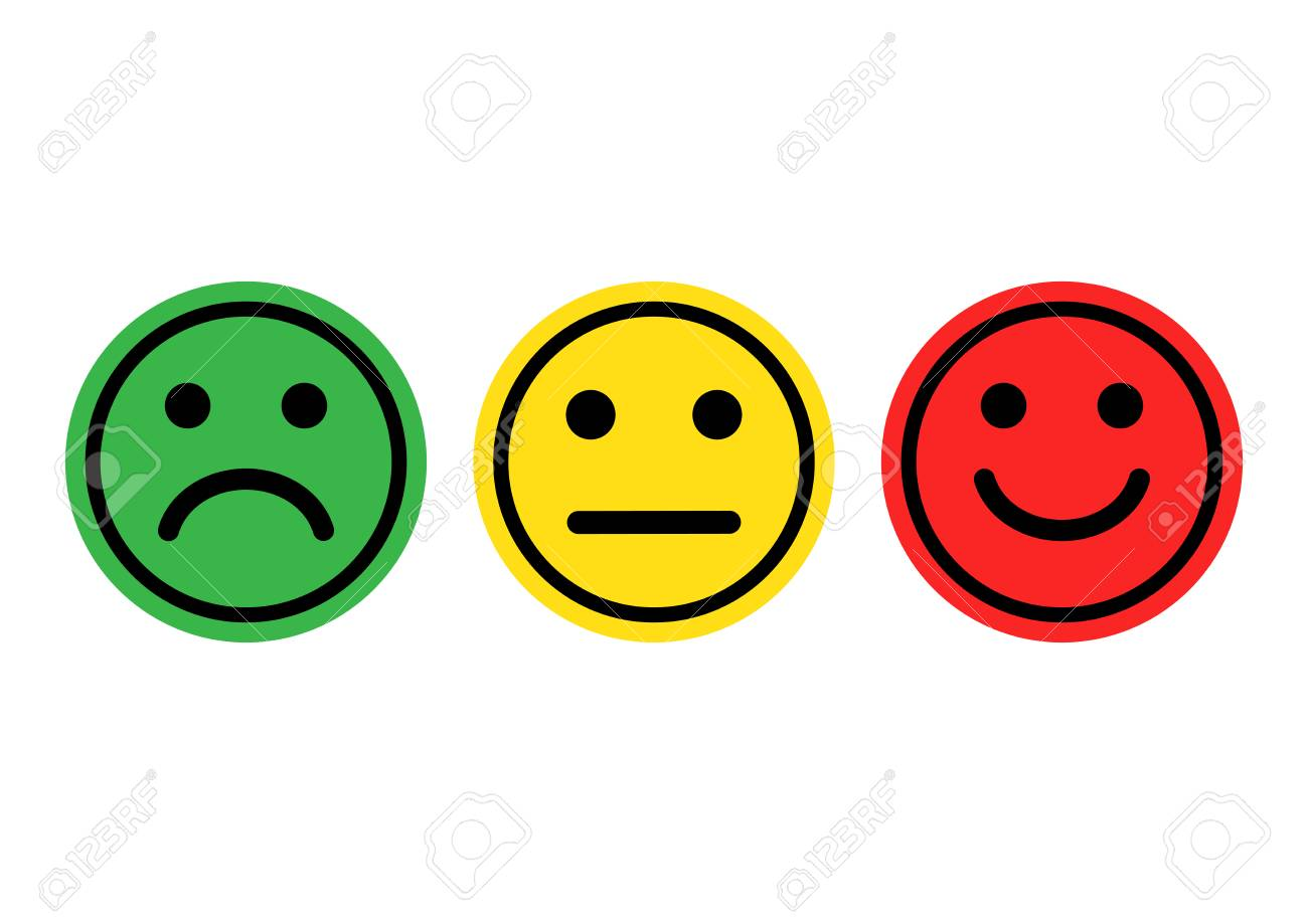 Green, yellow, red smileys emoticons icon positive, neutral and negative, different mood