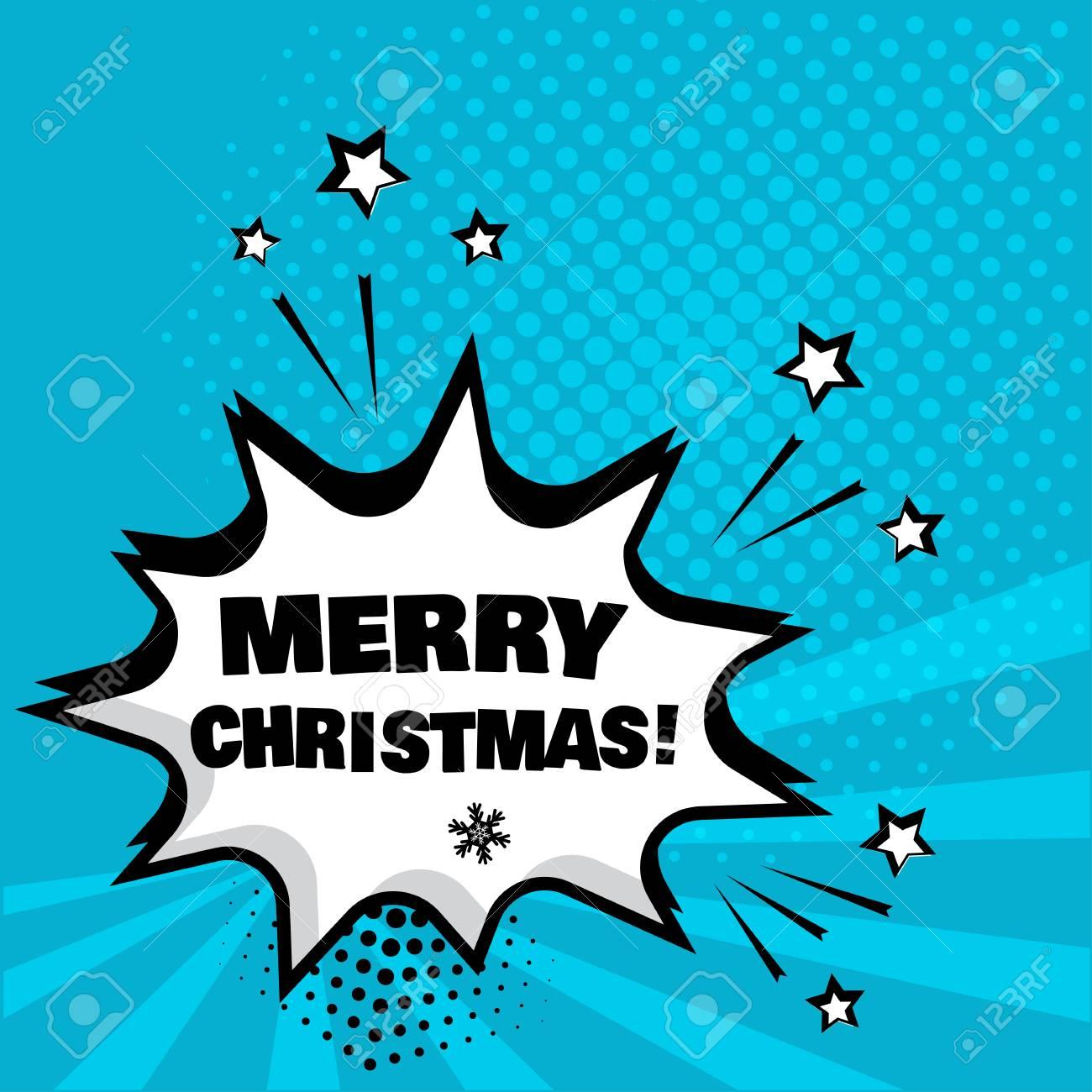 Weiße Komische Blase Mit MERRY CHRISTMAS-Wort Auf Blauem Hintergrund ...