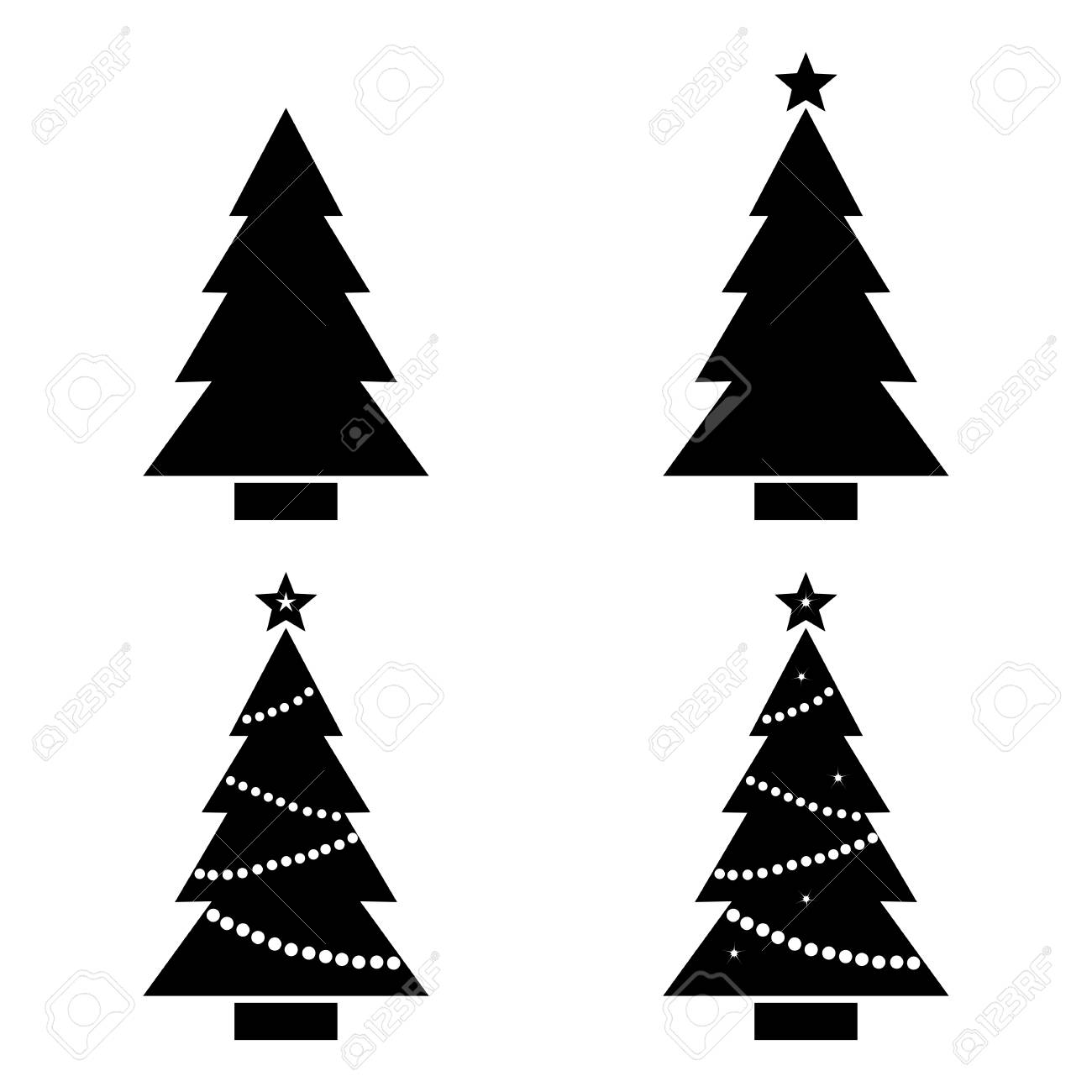 Définir Lillustration Vectorielle De Sapin De Noël Silhouette Noir Et Blanc