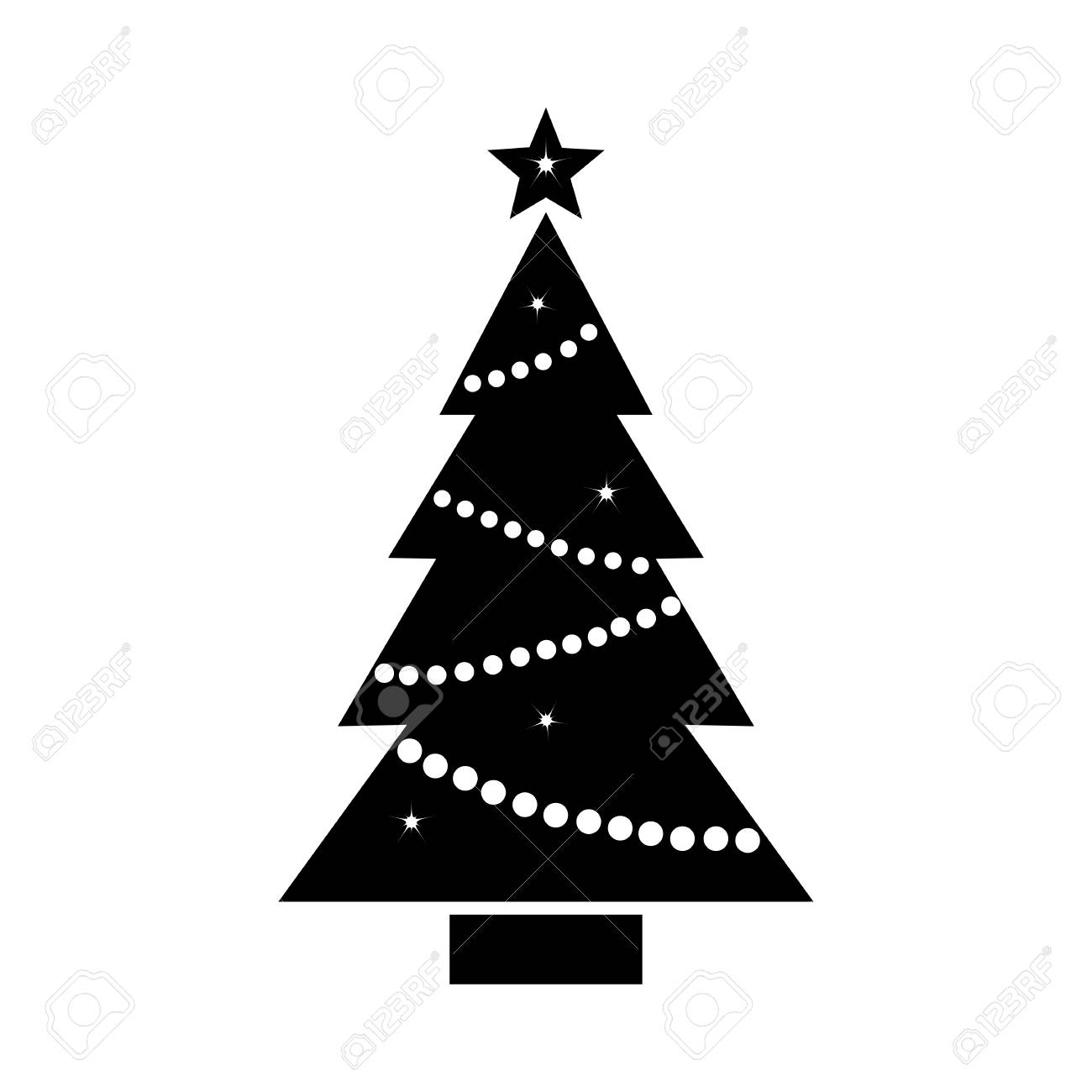 Christmas Tree Icon With Star And Garland Black And White Silhouette