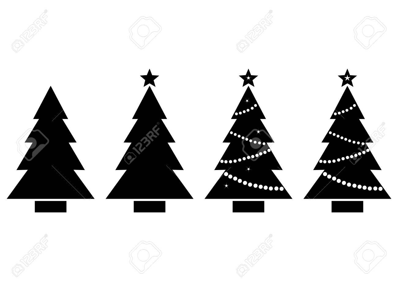 Set Christmas Tree Black And White Silhouette Vector Illustration