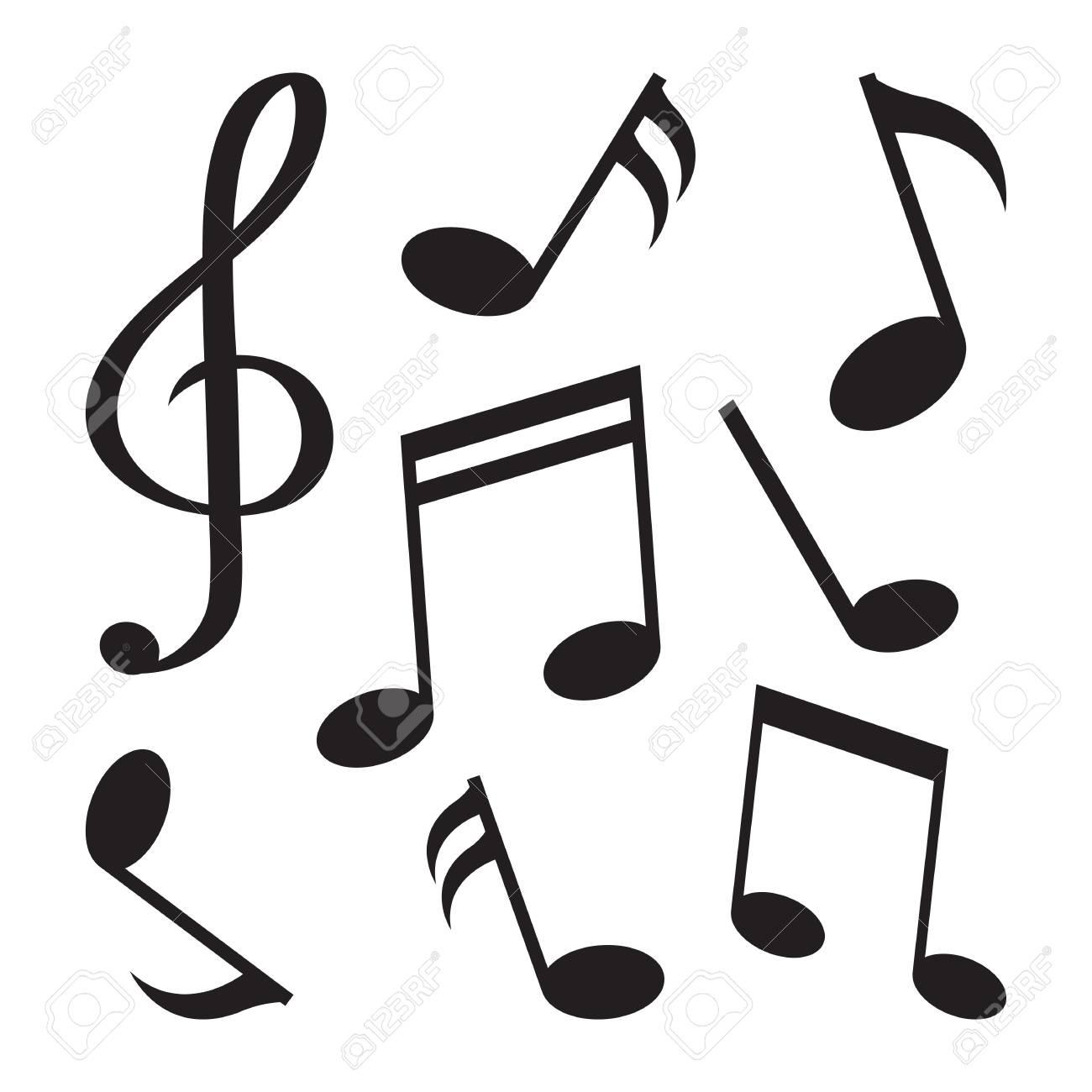 Conjunto De Notas Musicales Silueta Negra Aislado Sobre Fondo