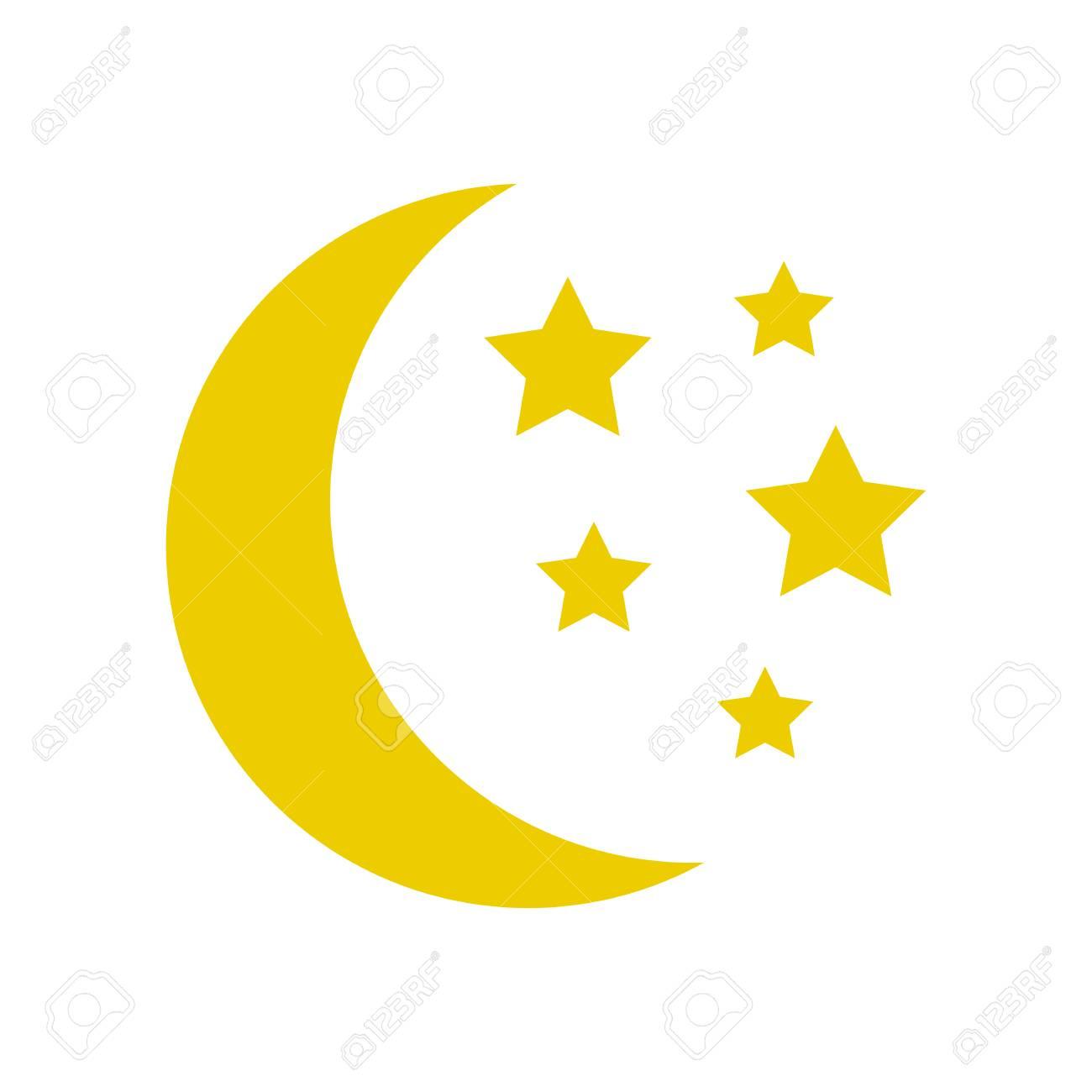 Moon and stars, yellow sleep icon. Vector illustration - 93051294