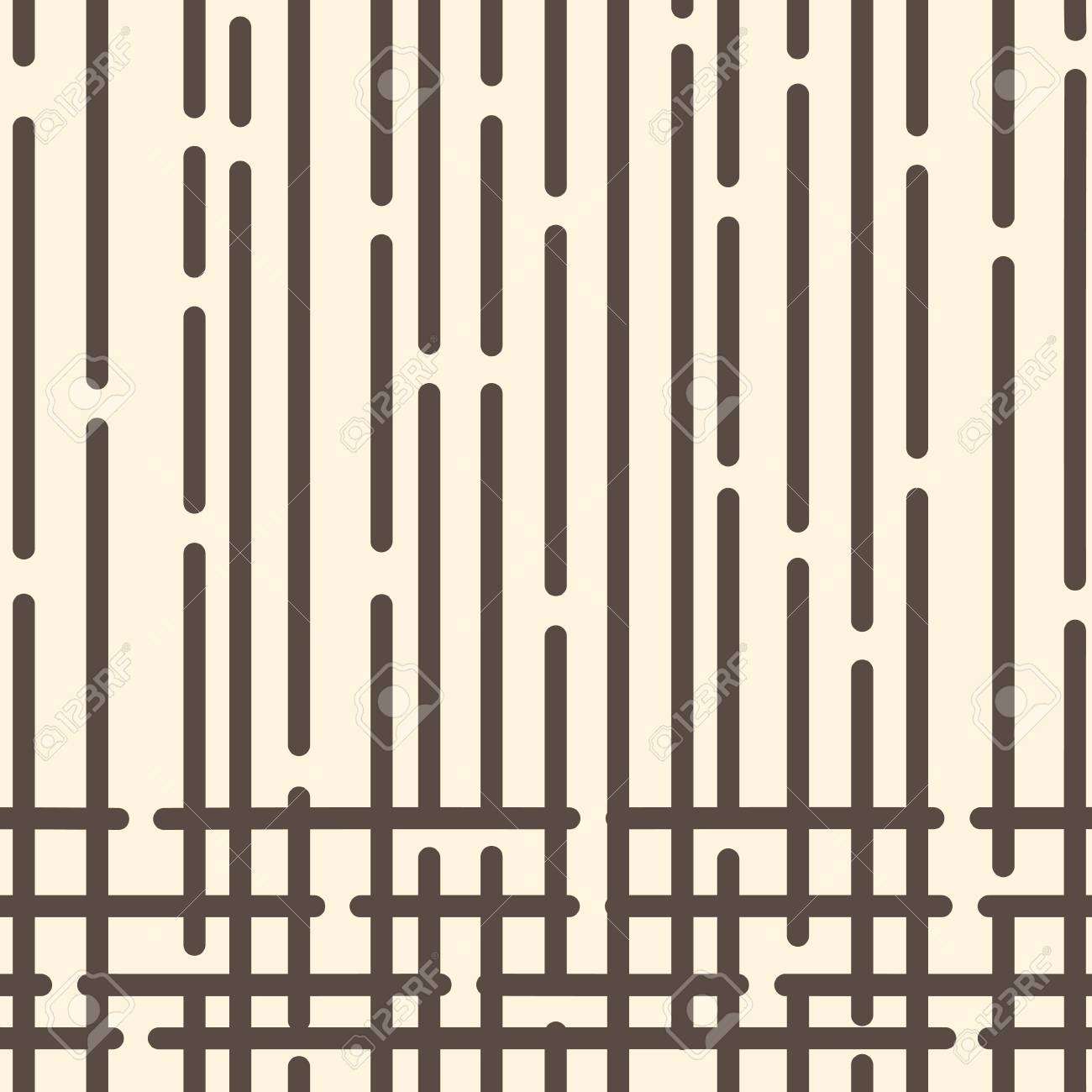 Abstract geometric pattern with dark brown rounded dotted lines