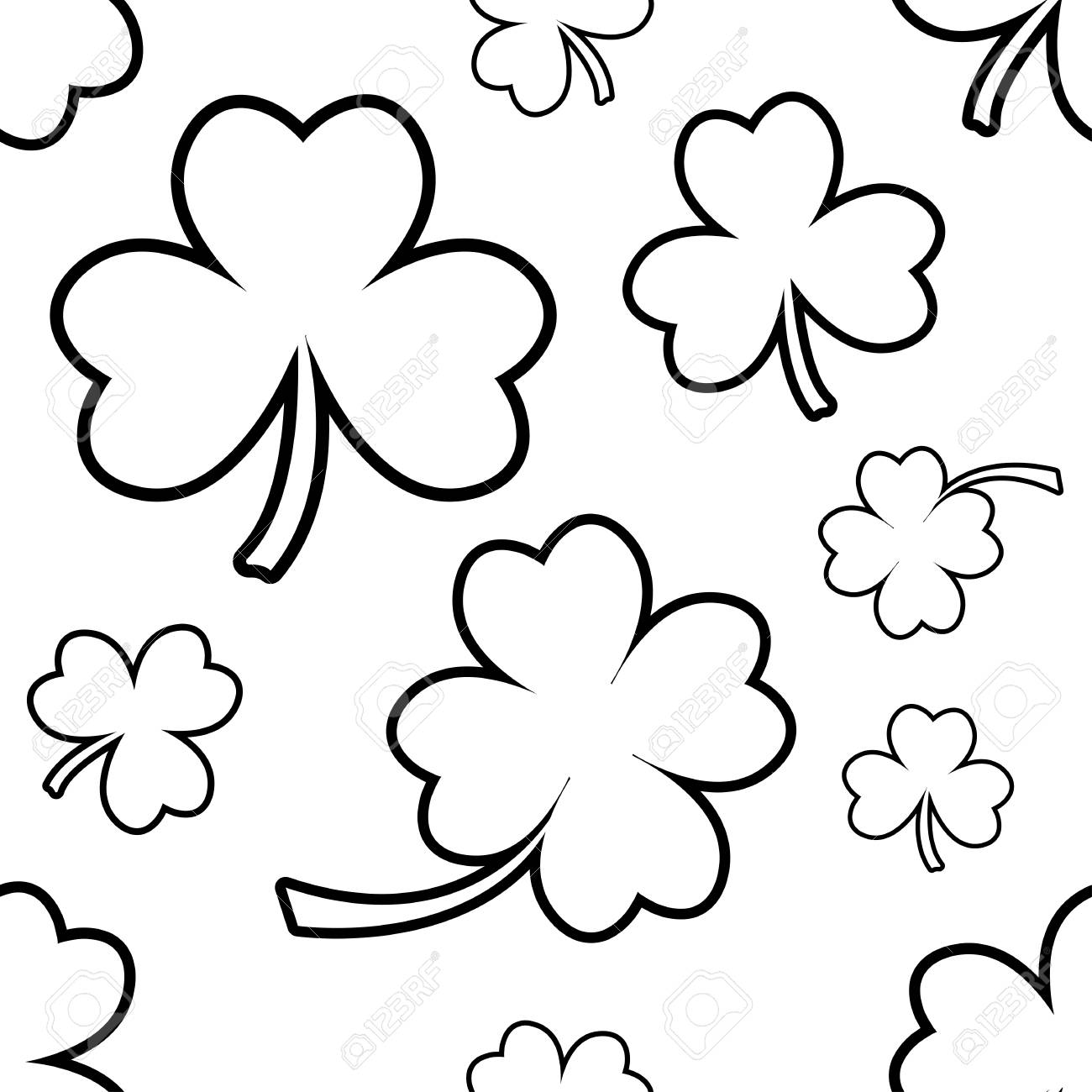 Seamless Pattern With Four And Tree Leaf Clovers For Saint Patricks