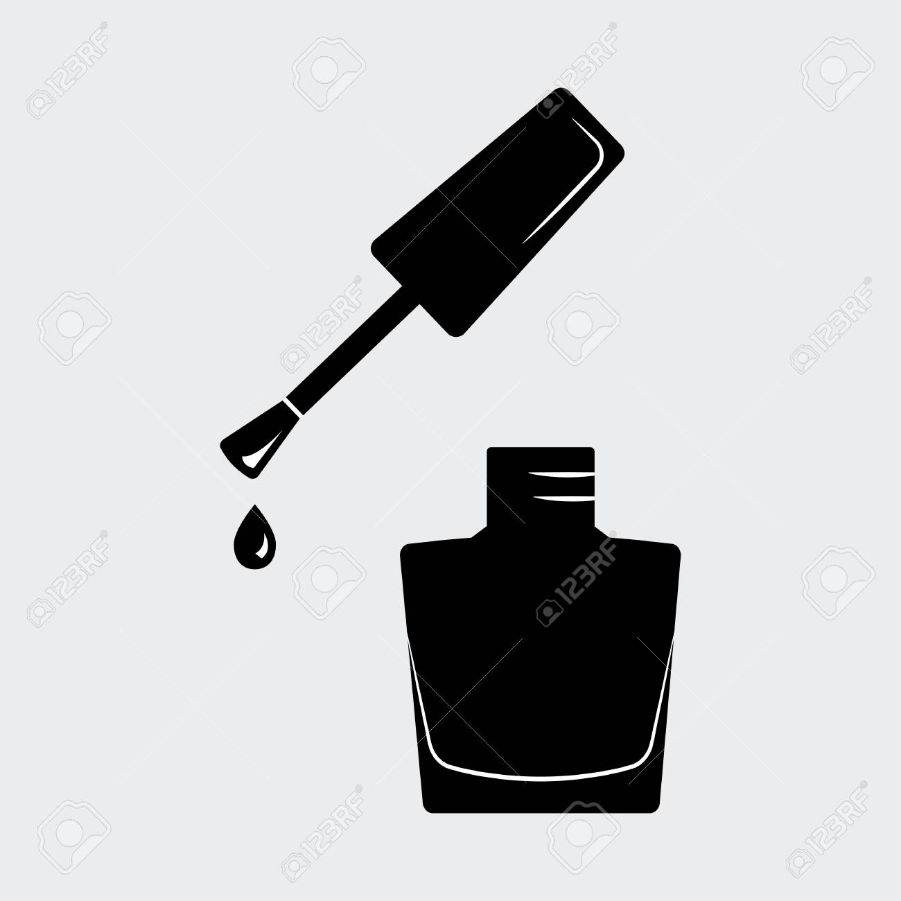 Nail Polish, Open Bottle. Black Silhouette. Vector Illustration ...