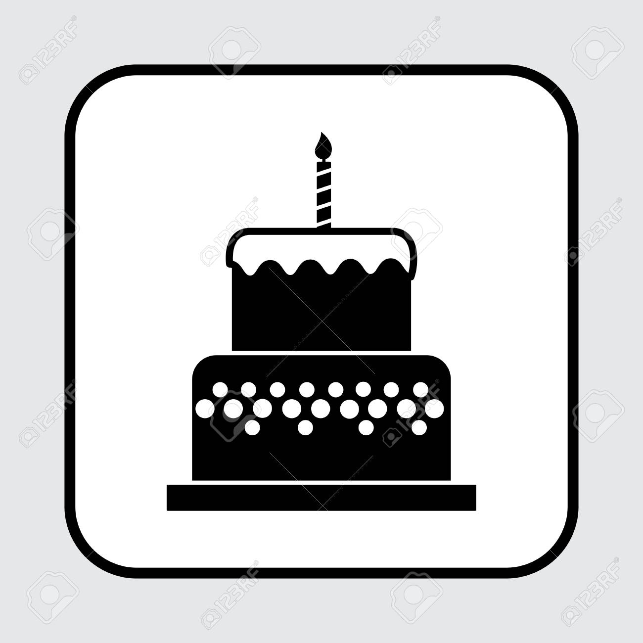 Swell Birthday Cake Icon With A Candle Black And White Color Vector Funny Birthday Cards Online Alyptdamsfinfo