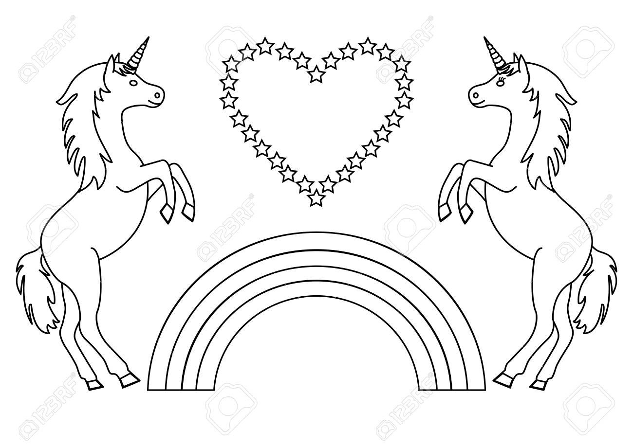 Couple unicorns with rainbow and heart with stars coloring page for children vector illustration