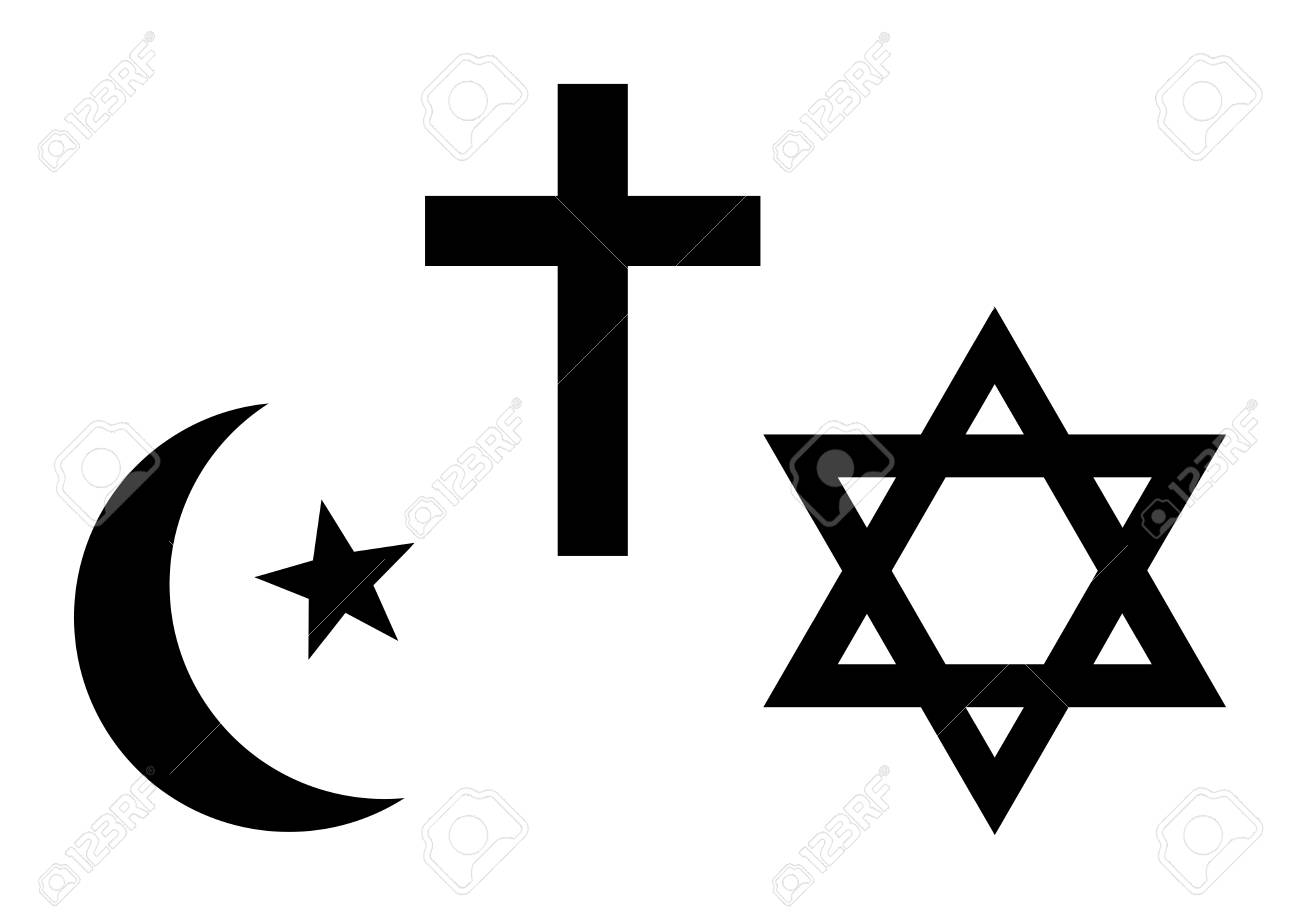 Three World Religions Symbols Islam Christianity And Judaism