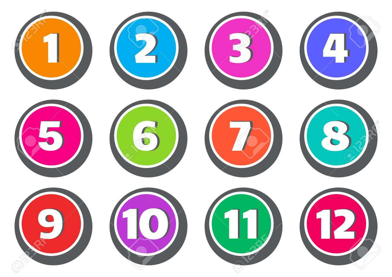 Colorful set of buttons with numbers from 1 to 12 vector illustration stock vector