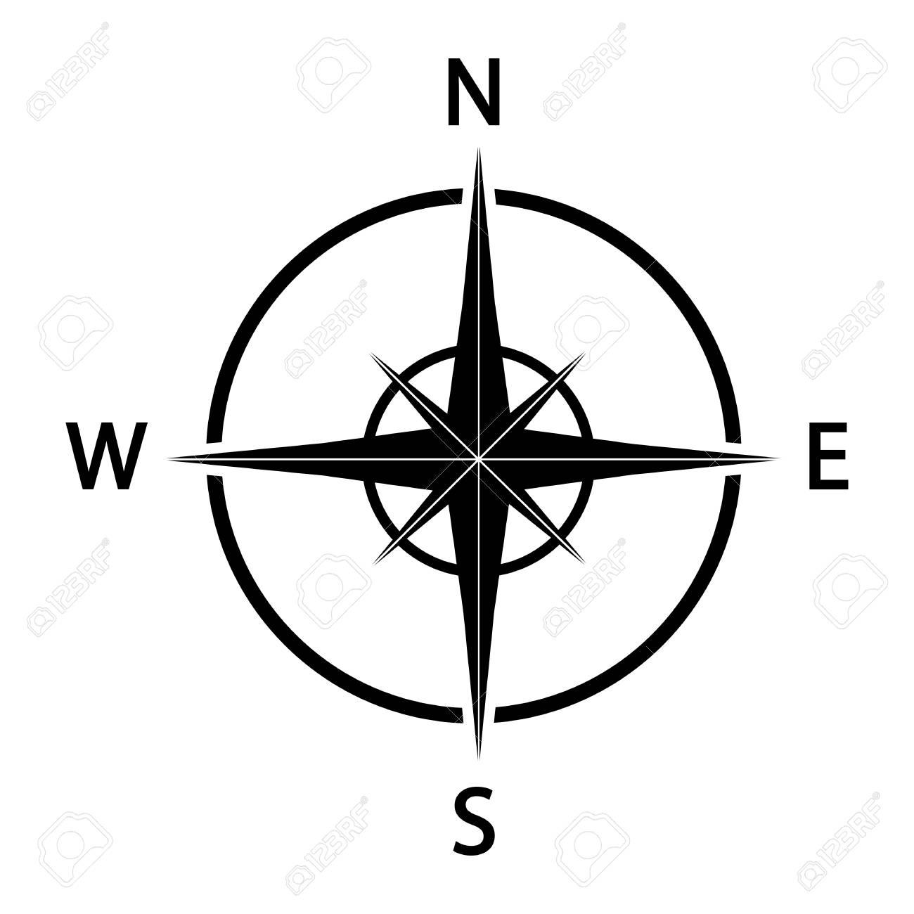 Compass icon. Black silhouette illustration. - 101187190
