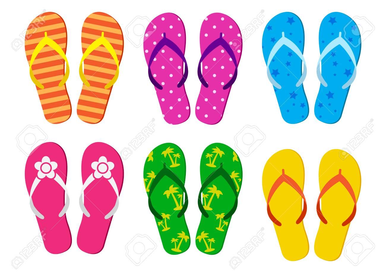 b18ba518a451 Colorful set of summer flip flops. Vector illustration Stock Vector -  105508043