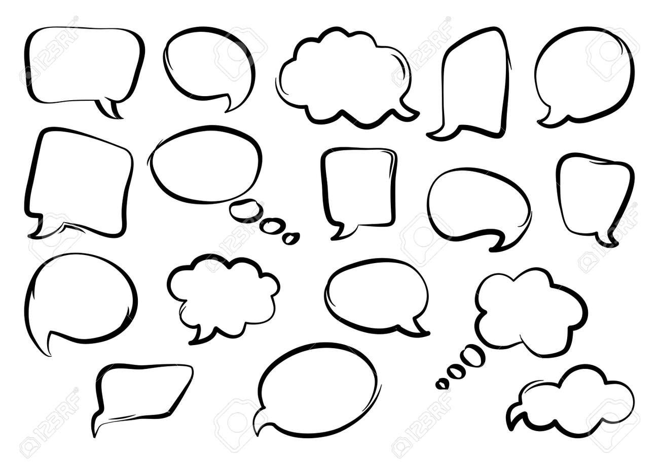 Set of speech bubbles, hand drawn, outline design. Vector illustration - 125959650
