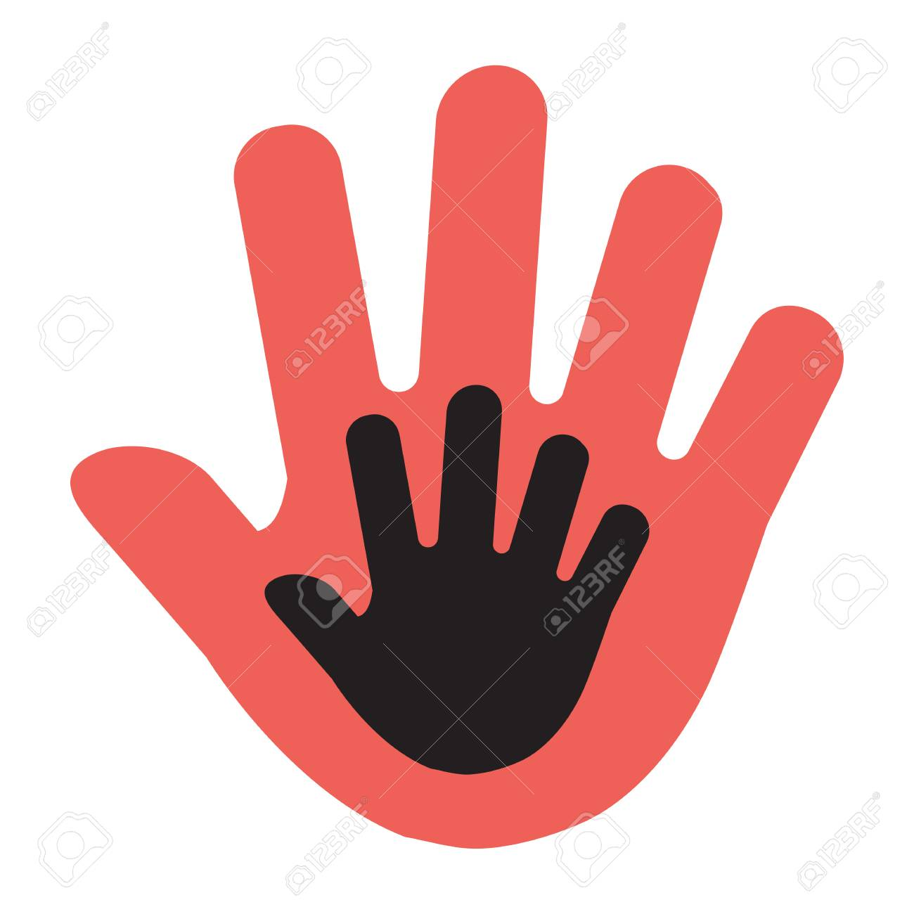 Hand of a child in an adult hand, red and black illustration. Vector illustration - 121678877