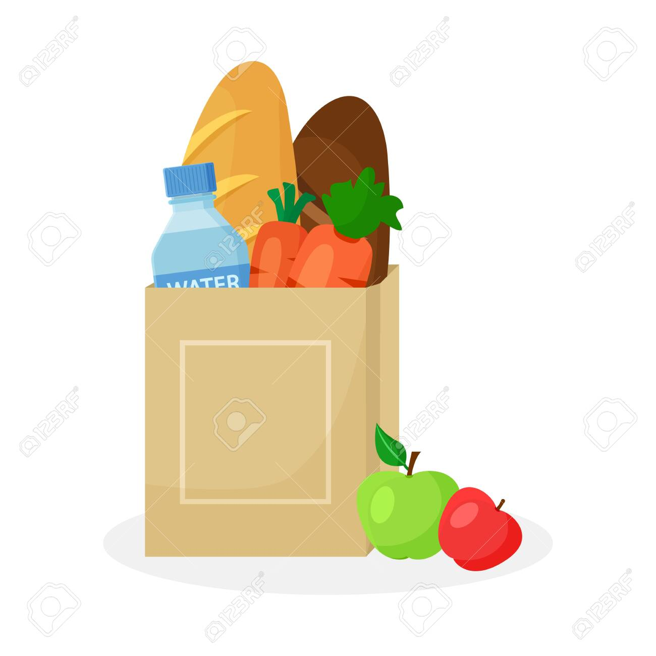 Paper package with products. Wheat and rye bread loaf, carrots, bottle of water and apples. Vector illustration - 129709425